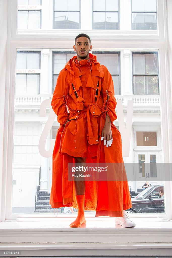 A model poses at the Feng Chen Wang presentation during New York Fashion Week Men's S/S 2017 on July 13 2016 in New York City