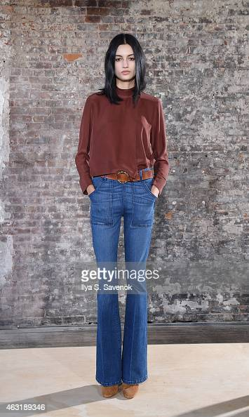 A model poses at the Frame Denim presentation during MercedesBenz Fashion Week Fall 2015 on February 11 2015 in New York City