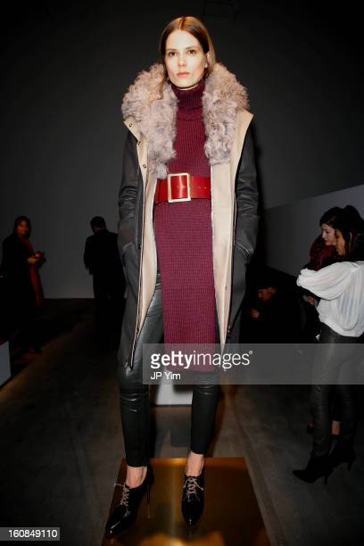 A model poses at the J Brand presentation during Fall 2013 MercedesBenz Fashion Week at Swiss Institute on February 6 2013 in New York City