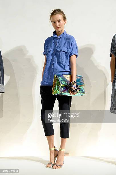 A model poses at the JCrew presentation during MercedesBenz Fashion Week Spring 2015 at The Pavilion at Lincoln Center on September 9 2014 in New...