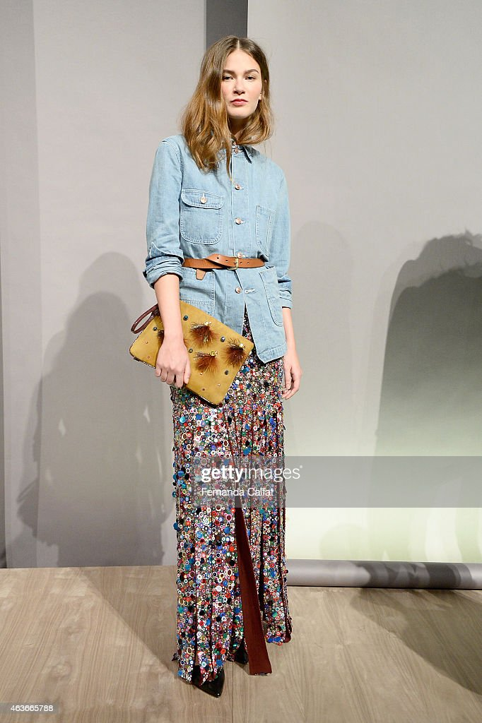 A model poses at the JCrew presentation during MercedesBenz Fashion Week Fall 2015 at The Pavilion at Lincoln Center on February 17 2015 in New York...