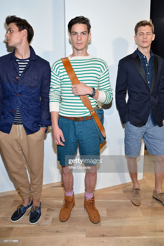A model poses at the J.Crew Presentation during the Spring 2013 Mercedes-Benz Fashion Week at The Studio at Lincoln Center on September 11, 2012 in New York City.