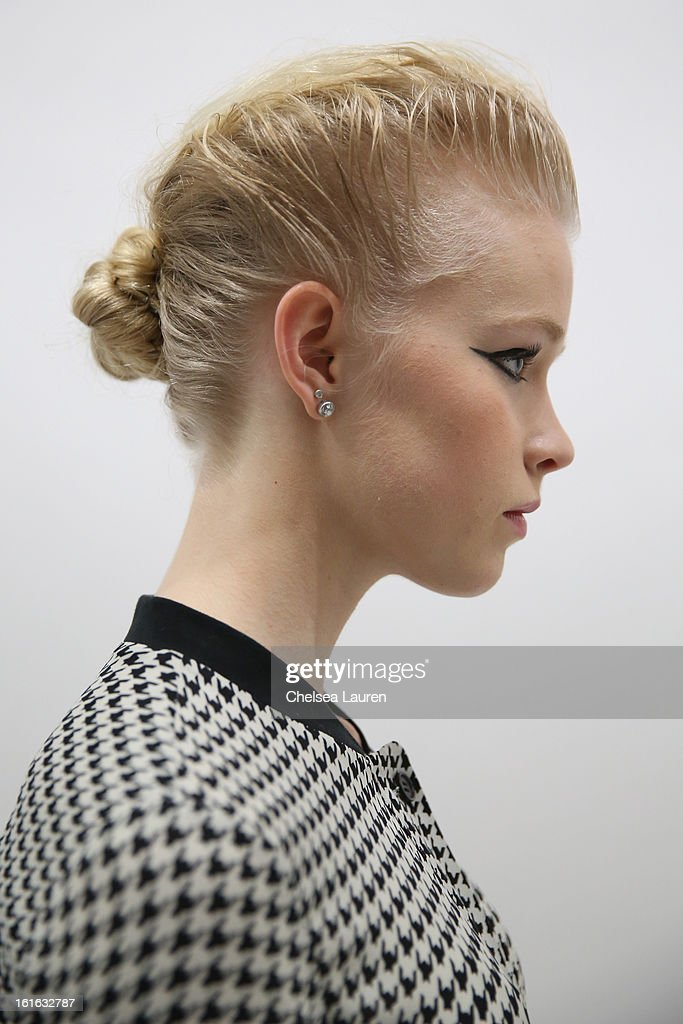 A model (hair detail) poses at the Joie Fall 2013 fashion show presentation during Mercedes-Benz Fashion Week at Center 548 on February 13, 2013 in New York City.