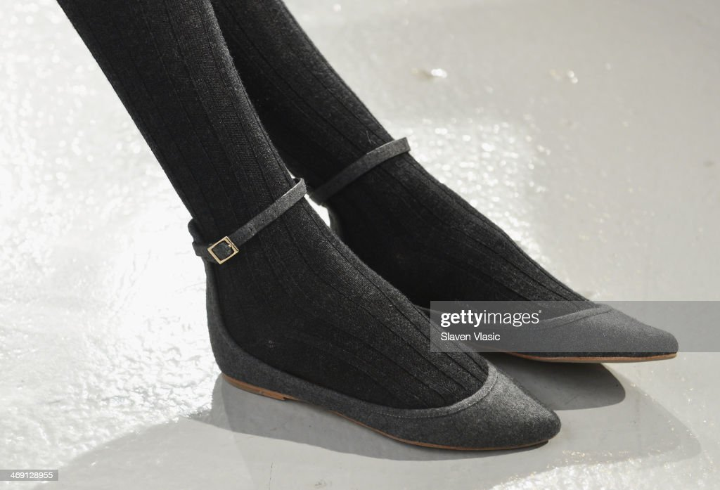 A model (shoe detail) poses at the Joie presentation during Mercedes-Benz Fashion Week Fall 2014 at Center 548 on February 12, 2014 in New York City.