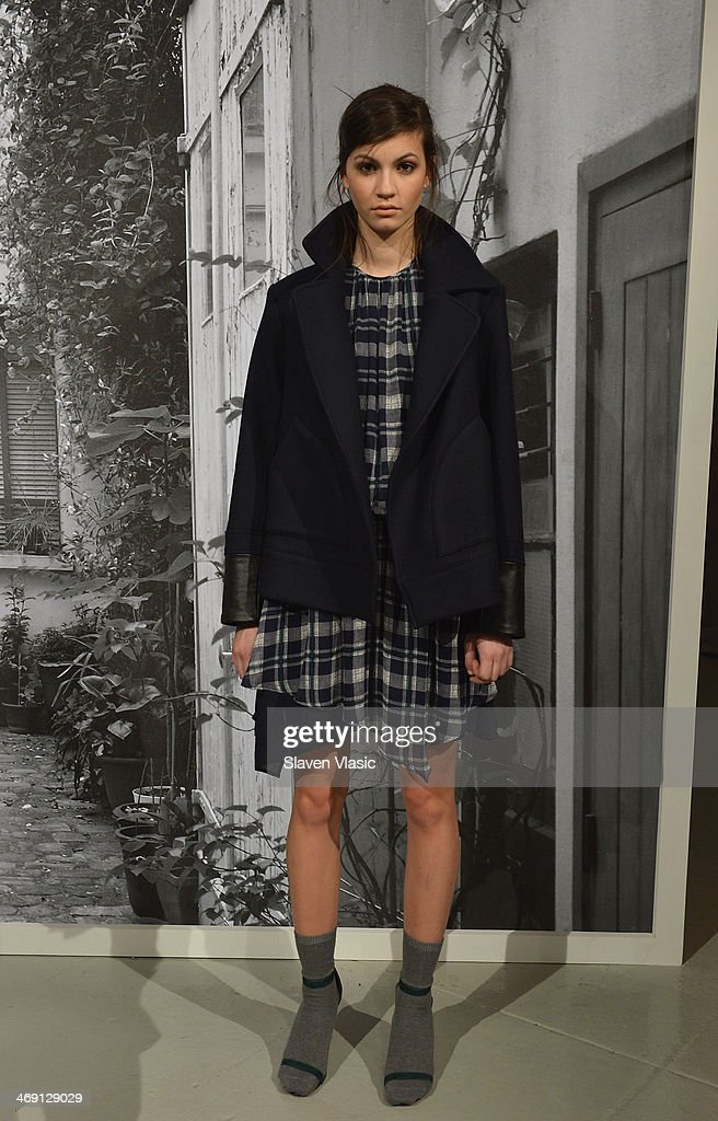 A model poses at the Joie presentation during Mercedes-Benz Fashion Week Fall 2014 at Center 548 on February 12, 2014 in New York City.