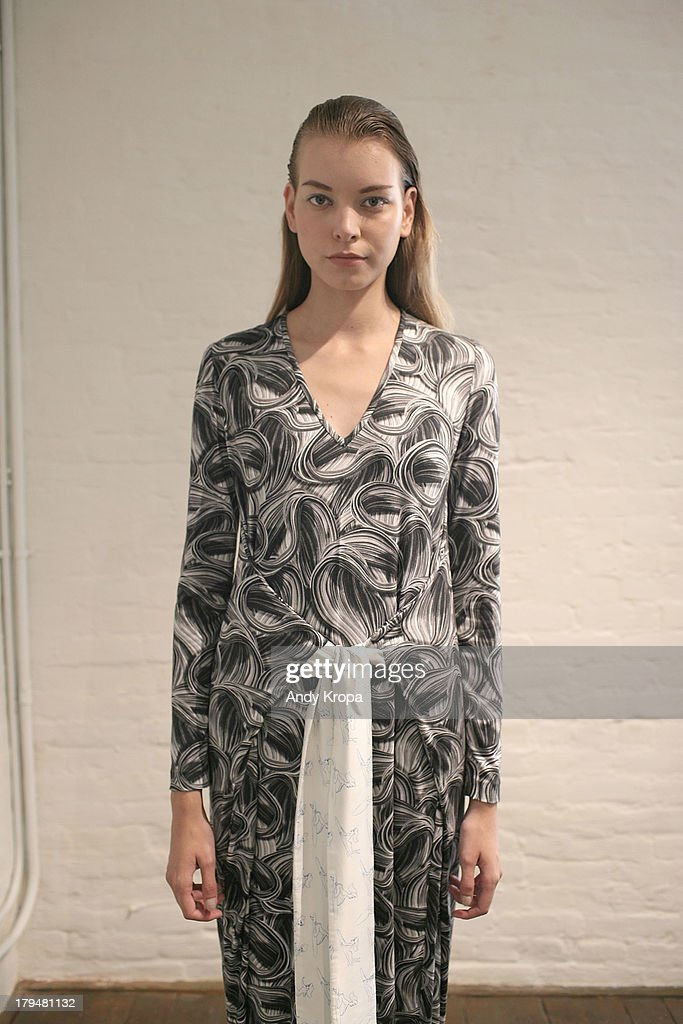 A model poses at the Jonathan Cohen presentation during Mercedes-Benz Fashion Week Spring 2014 at Triple 'A' Loft on September 4, 2013 in New York City.
