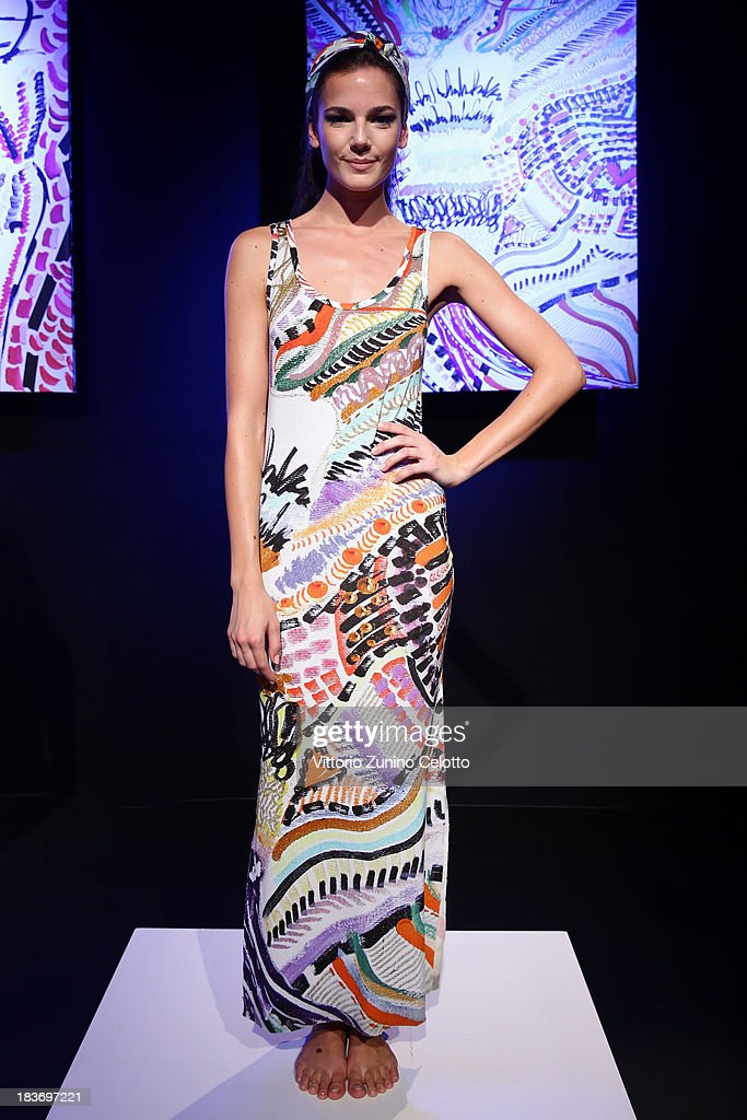 A model poses at the Lady Faith Designed By Nazli Soylu show during Mercedes-Benz Fashion Week Istanbul s/s 2014 presented by American Express on October 9, 2013 in Istanbul, Turkey.