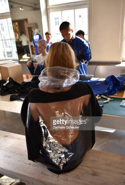 A model poses at the Last Hiers show during the MercedesBenz Fashion Week Berlin Spring/Summer 2018 at Rosenthal Studios on July 6 2017 in Berlin...