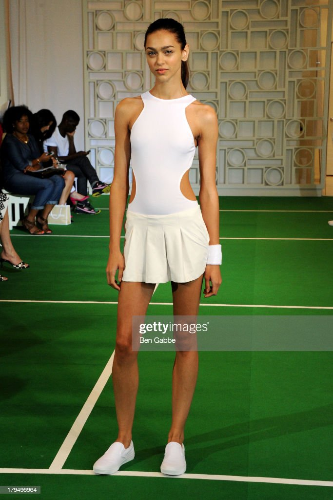A model poses at the Lisa Perry presentation during MercedesBenz Fashion Week Spring 2014 on September 4 2013 in New York City