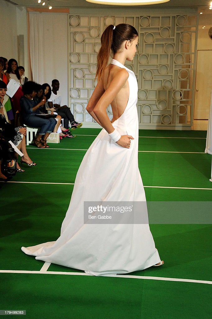 A model poses at the Lisa Perry presentation during Mercedes-Benz Fashion Week Spring 2014 on September 4, 2013 in New York City.