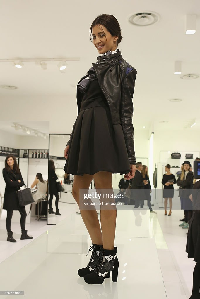 A model poses at the Loriblu Cocktail Party as part of Milan Fashion Week Womenswear Autumn/Winter 2014 on February 20, 2014 in Milan, Italy.