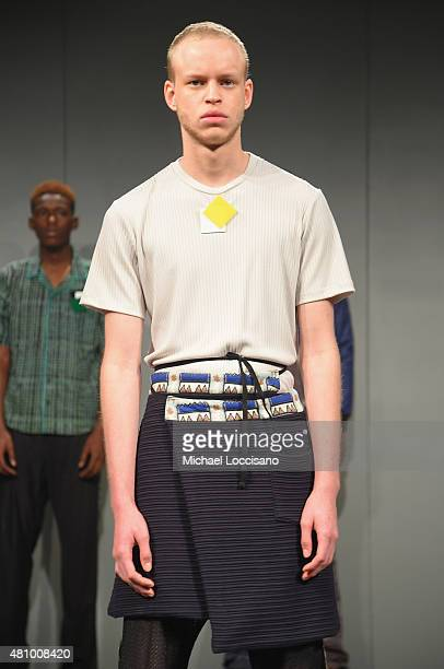 A model poses at the Lucio Castro presentation during New York Fashion Week Men's S/S 2016 at Skylight Clarkson Sq on July 16 2015 in New York City