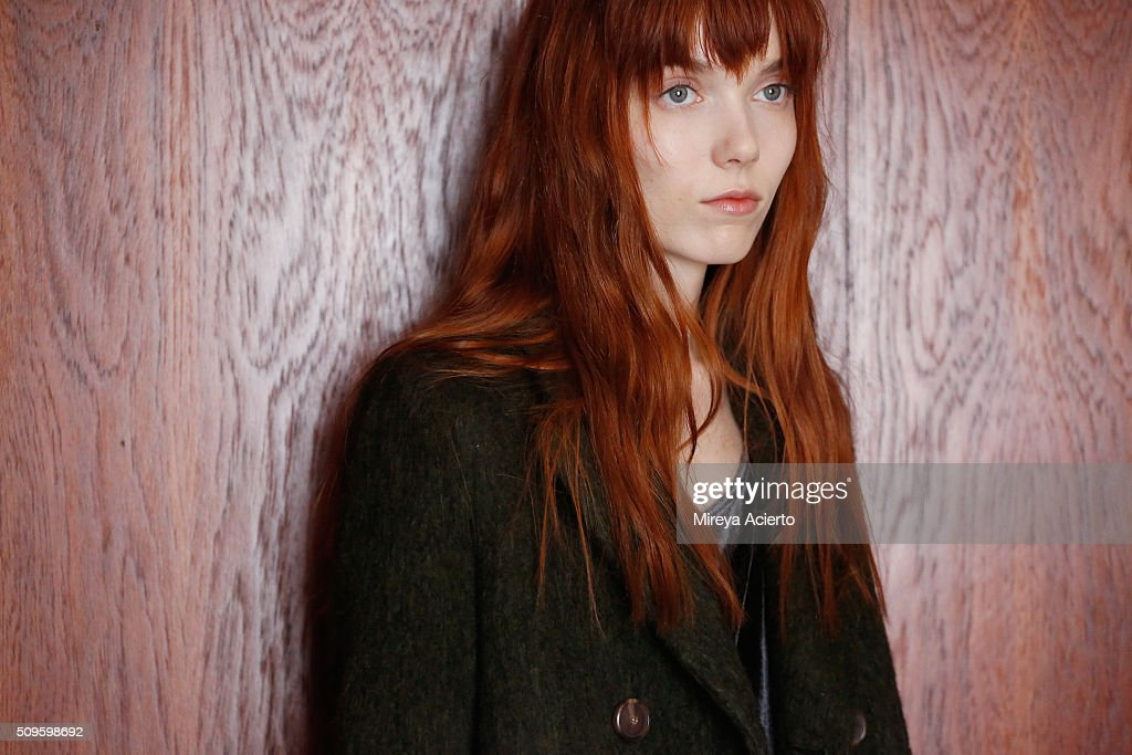 A model poses at the M Martin presentation during Fall 2016 New York Fashion Week at Maritime Hotel on February 11 2016 in New York City