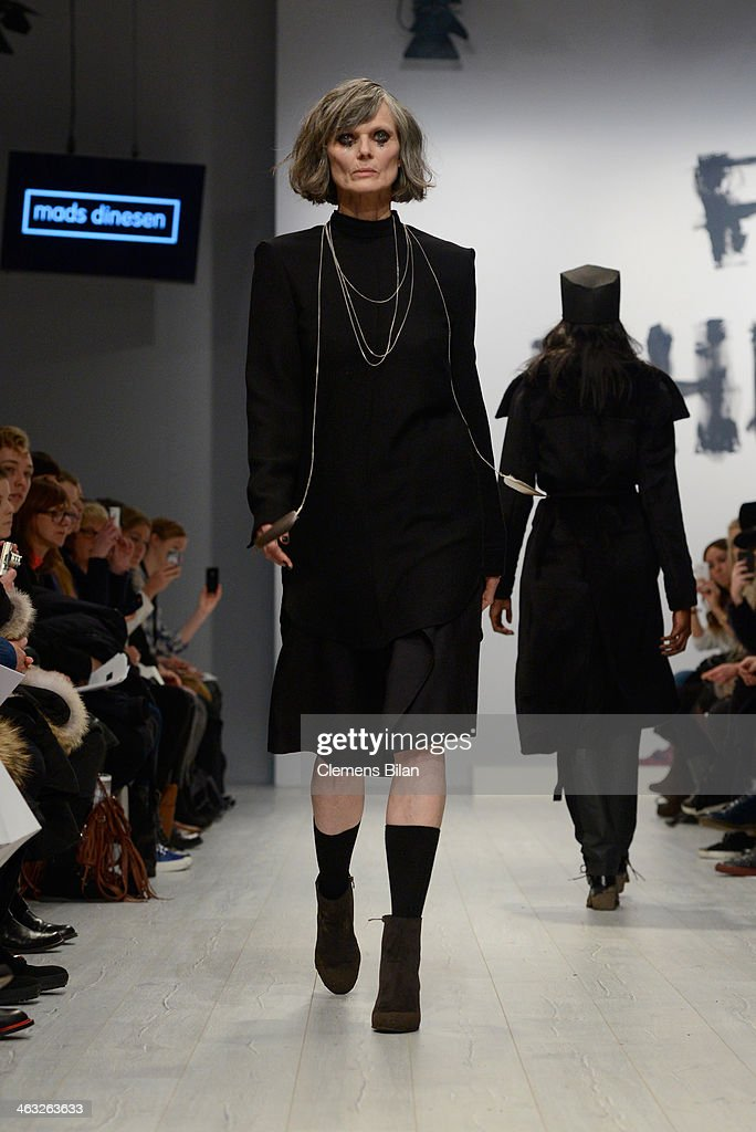 A model poses at the Mads Dinesen show during Mercedes-Benz Fashion Week Autumn/Winter 2014/15 at Brandenburg Gate on January 17, 2014 in Berlin, Germany.