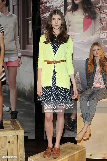 A model poses at the Maison Jules Fall 2014 fashion show at The Park on February 4 2014 in New York City