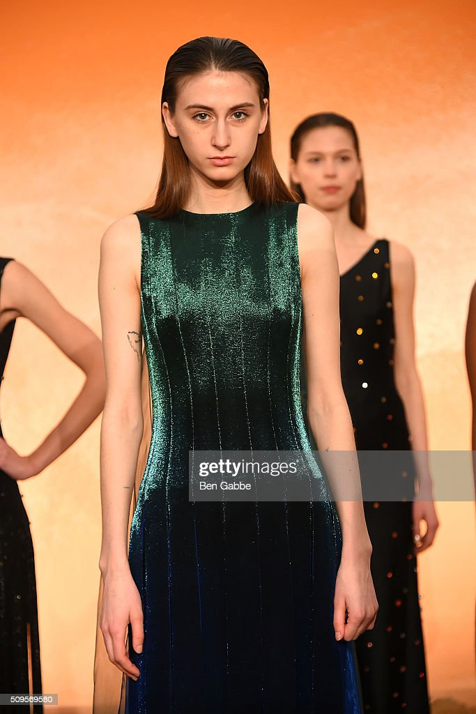 A model poses at the Mathieu Mirano presentation during Fall 2016 New York Fashion Week at Pier 59 Studios on February 11, 2016 in New York City.
