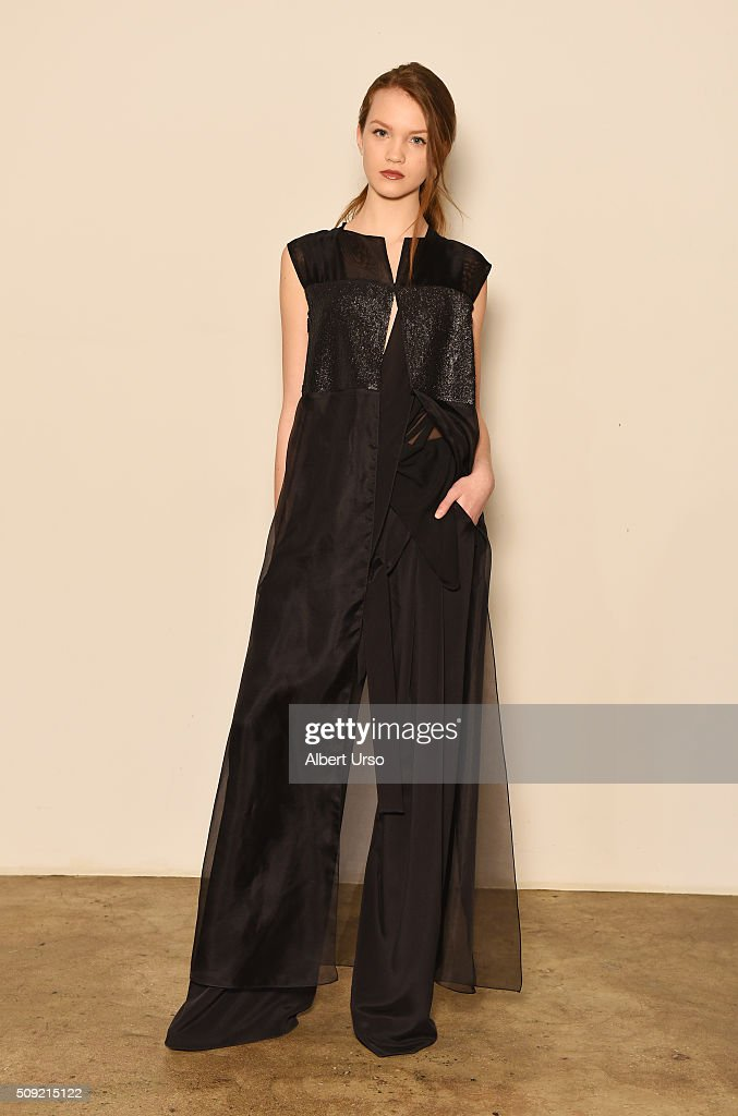 A model poses at the Mi Jong Lee presentation during New York Fashion Week Women's Fall/Winter 2016 on February 9, 2016 in New York City.