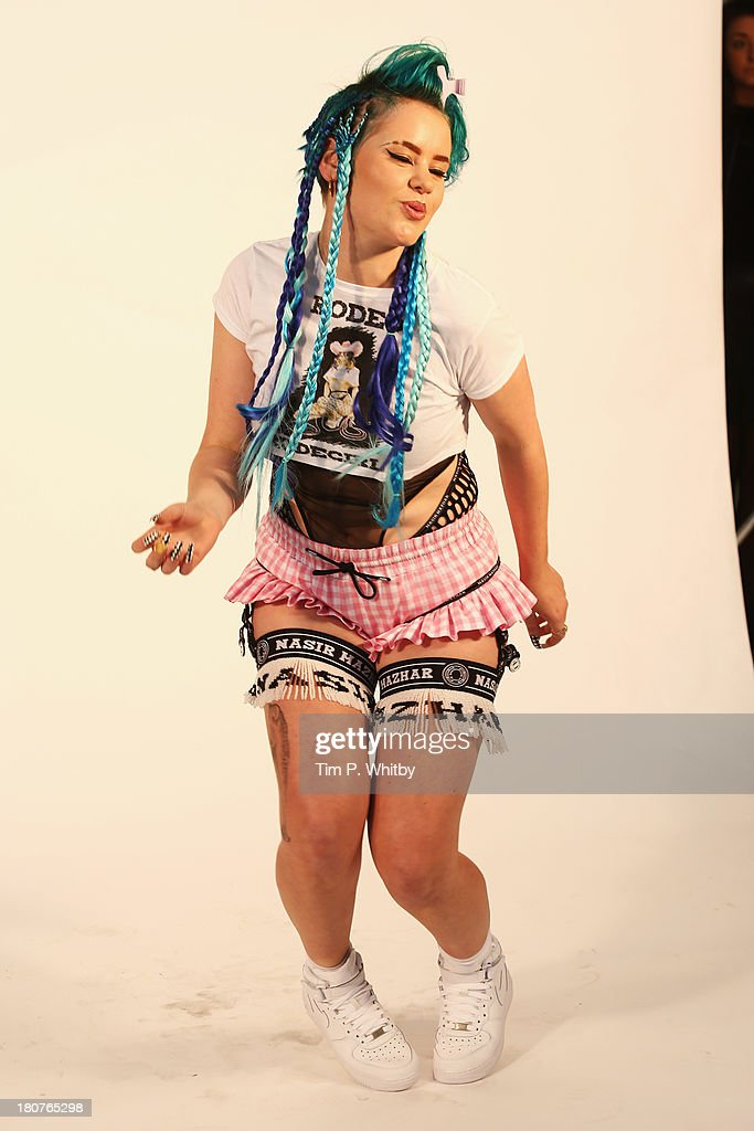 A model poses at the Nasir Mazhar presentation during London Fashion Week SS14 at TopShop Show Space on September 16, 2013 in London, England.