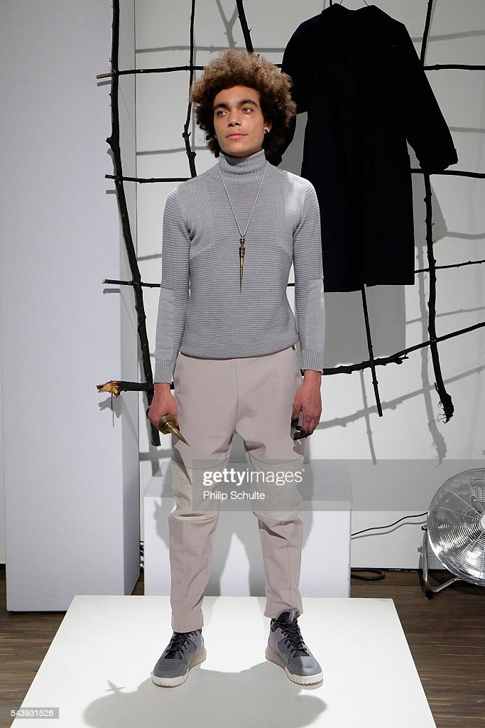 A model poses at the Nathini van der Meer show during the Mercedes-Benz Fashion Week Berlin Spring/Summer 2017 at Stage at me Collectors Room on June 30, 2016 in Berlin, Germany.