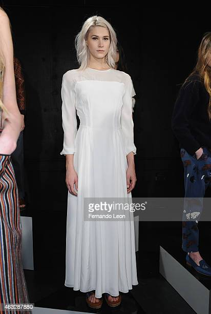 A model poses at The New Class Nikki Chasin presentation presented by Brand Assembly during MercedesBenz Fashion Week Fall 2015 at YouTube Space on...