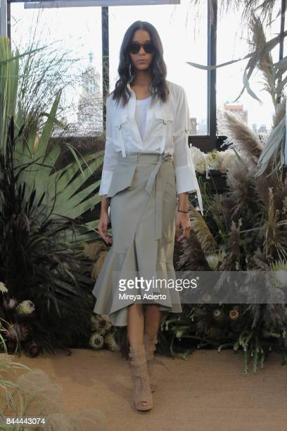 A model poses at the Nicole Miller fashion show during New York Fashion Week The Shows at Gramercy Terrace at The Gramercy Park Hotel on September 8...