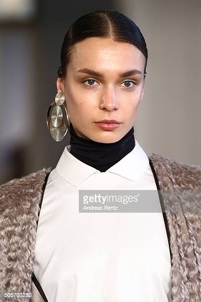 A model poses at the Nobi Talai show as part of Der Berliner Mode Salon during the MercedesBenz Fashion Week Berlin Autumn/Winter 2016 at...