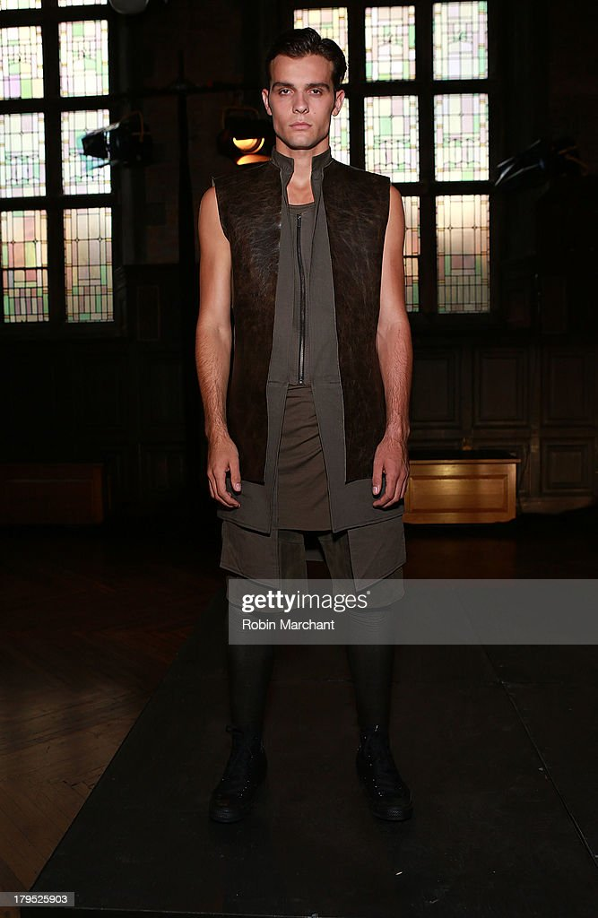 A model poses at the ODD presentation during Mercedes-Benz Fashion Week Spring 2014 at The Highline Hotel on September 4, 2013 in New York City.