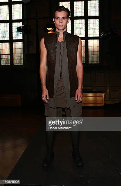 A model poses at the ODD presentation during MercedesBenz Fashion Week Spring 2014 at The Highline Hotel on September 4 2013 in New York City