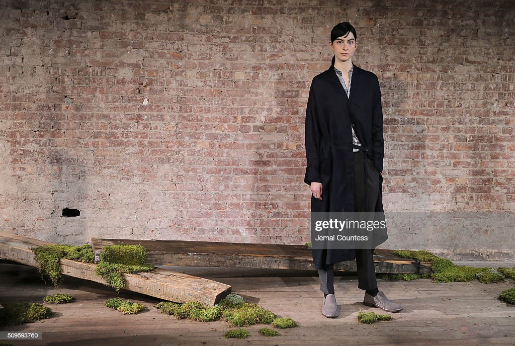 A model poses at the Pas de Calais Fall 2016 Presentation during at the Pas de Calais Fall 2016 New York Fashion Week at Soho Lofts on February 11, 2016 in New York City.