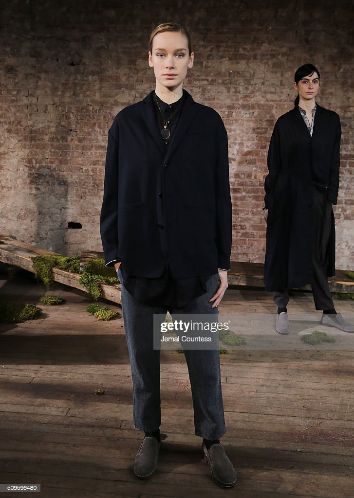 A model poses at the Pas de Calais Fall 2016 Presentation during New York Fashion Week at Soho Lofts on February 11, 2016 in New York City.