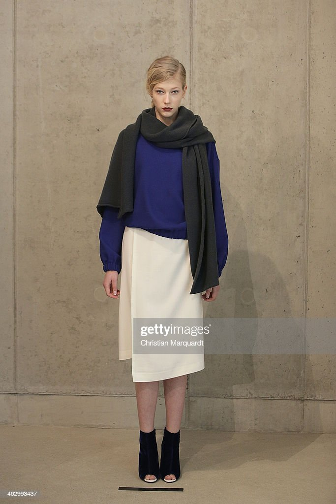 A model poses at the Perret Schaad show during Mercedes-Benz Fashion Week Autumn/Winter 2014/15 on January 16, 2014 in Berlin, Germany.
