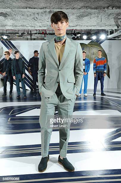 A model poses at the Perry Ellis presentation during New York Fashion Week Men's Spring/Fall 2017 at the Hippodrome Building on July 11 2016 in New...