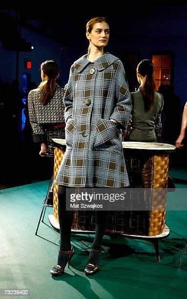 A model poses at the Philosophy di Alberta Ferretti Fall 2007 fashion show during MercedesBenz Fashion Week February 6 2007 in New York City