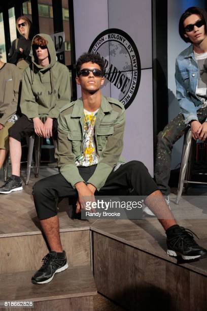 A model poses at the presentation during the Steve Aoki Presents Dim Mak Collection SS18 on July 18 2017 in New York City