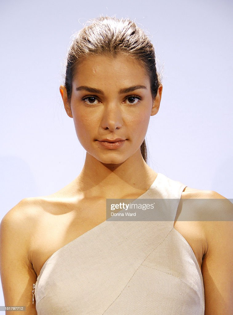 A model poses at the Rachel Roy spring 2013 presentation during Mercedes-Benz Fashion Week on September 11, 2012 in New York City.