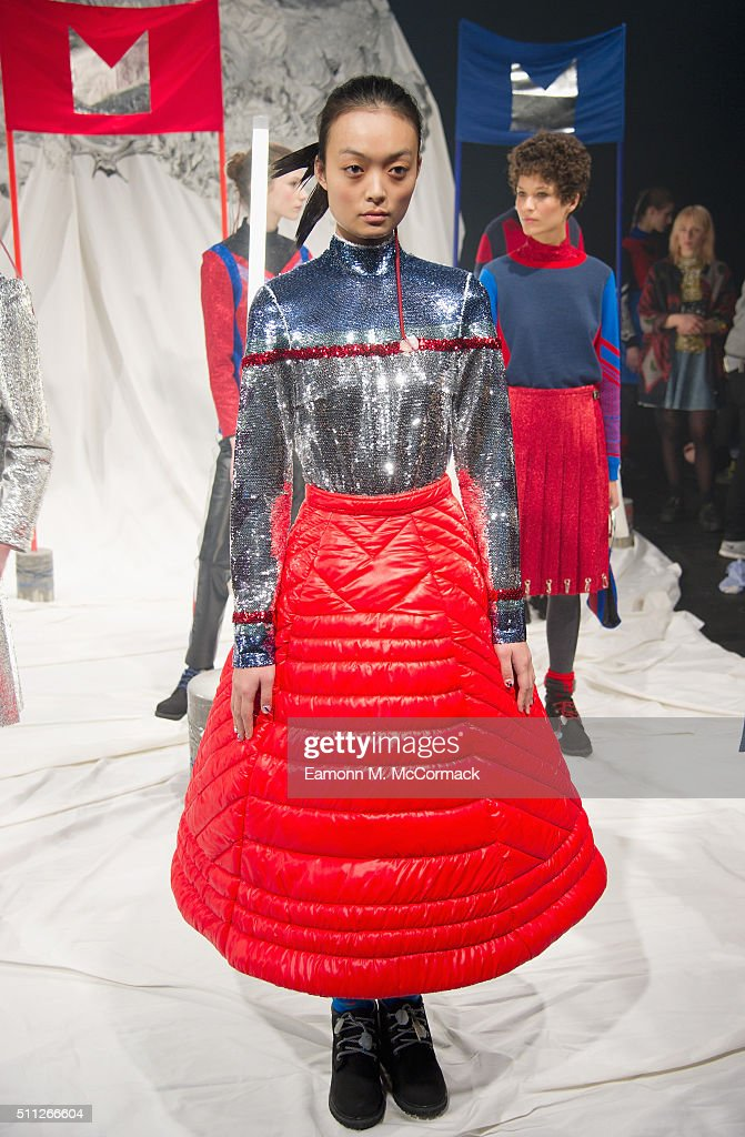 A model poses at the Sadie Williams presentation during London Fashion Week Autumn/Winter 2016/17 at ICA on February 19 2016 in London England
