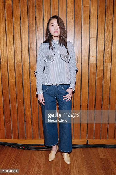 A model poses at the Sandy Liang presentation during the Fall 2016 MADE Fashion Week at The Standard on February 14 2016 in New York City