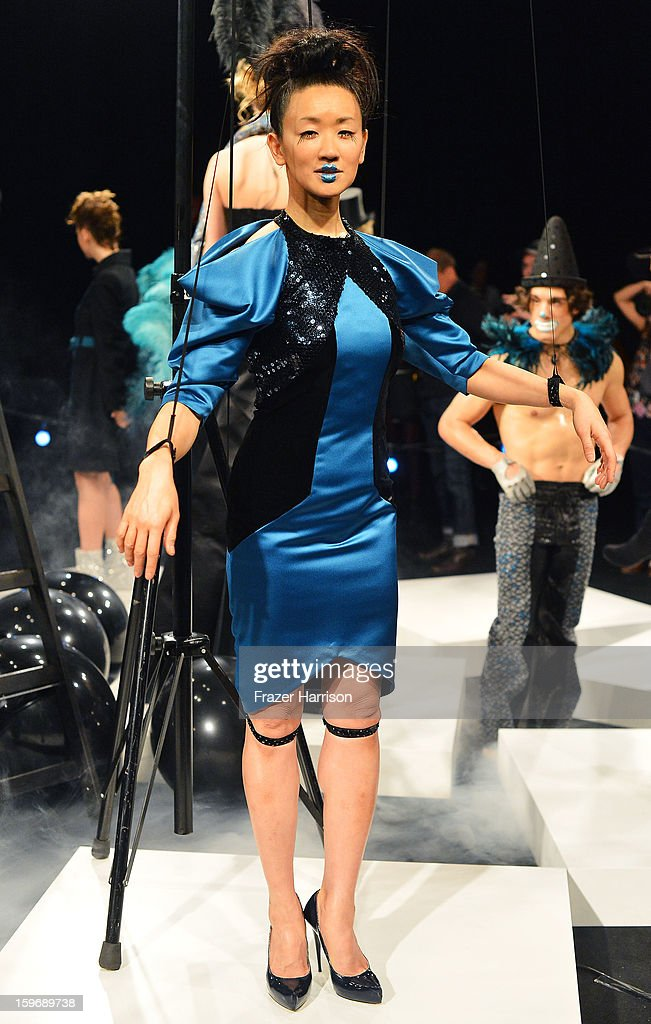 A model poses at the Sebastian Ellrich Autumn/Winter 2013/14 fashion show during Mercedes-Benz Fashion Week Berlin at Brandenburg Gate on January 18, 2013 in Berlin, Germany.