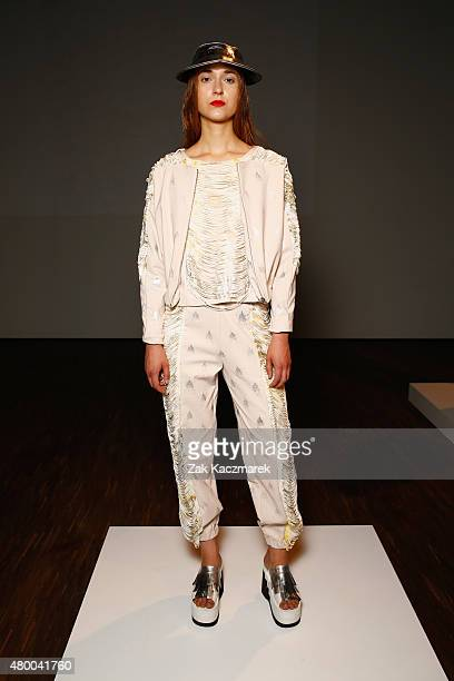 A model poses at the Steinrohner show during the MercedesBenz Fashion Week Berlin Spring/Summer 2016 at Stage at me Collectors Room on July 9 2015 in...