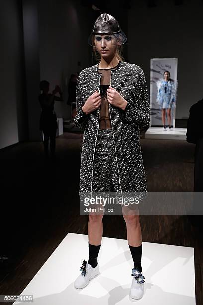 A model poses at the Steinrohner show during the MercedesBenz Fashion Week Berlin Autumn/Winter 2016 at Stage at me Collectors Room on January 21...