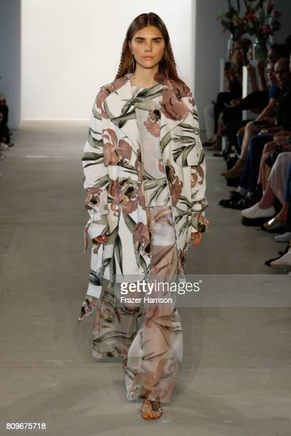 A model poses at the Steinrohner show during the MercedesBenz Fashion Week Berlin Spring/Summer 2018 at Kaufhaus Jandorf on July 6 2017 in Berlin...