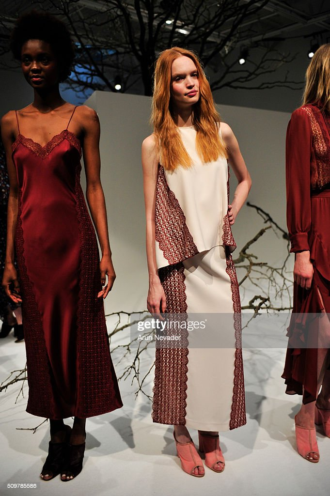A model poses at the Tanya Taylor Presentation at Swiss Institute on February 12, 2016 in New York City.