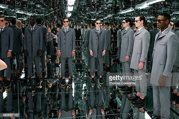 A model poses at the Thom Browne 'the officeman 2015' presentation during New York Fashion Week Men's S/S 2016 on July 14 2015 in New York City