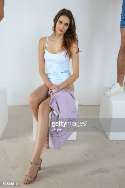 A model poses at the Thorsun Men's and Women's Spring/Summer 2018 presentation on July 12 2017 in New York City
