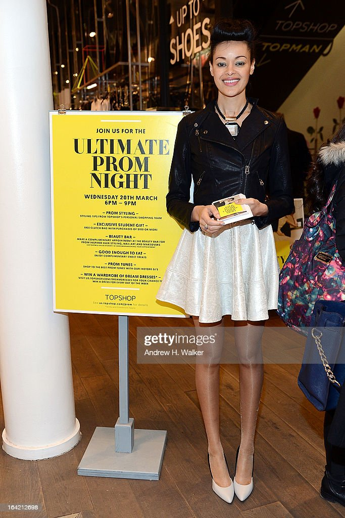 A model poses at the Topshop Prom Event on March 20, 2013 in New York City.