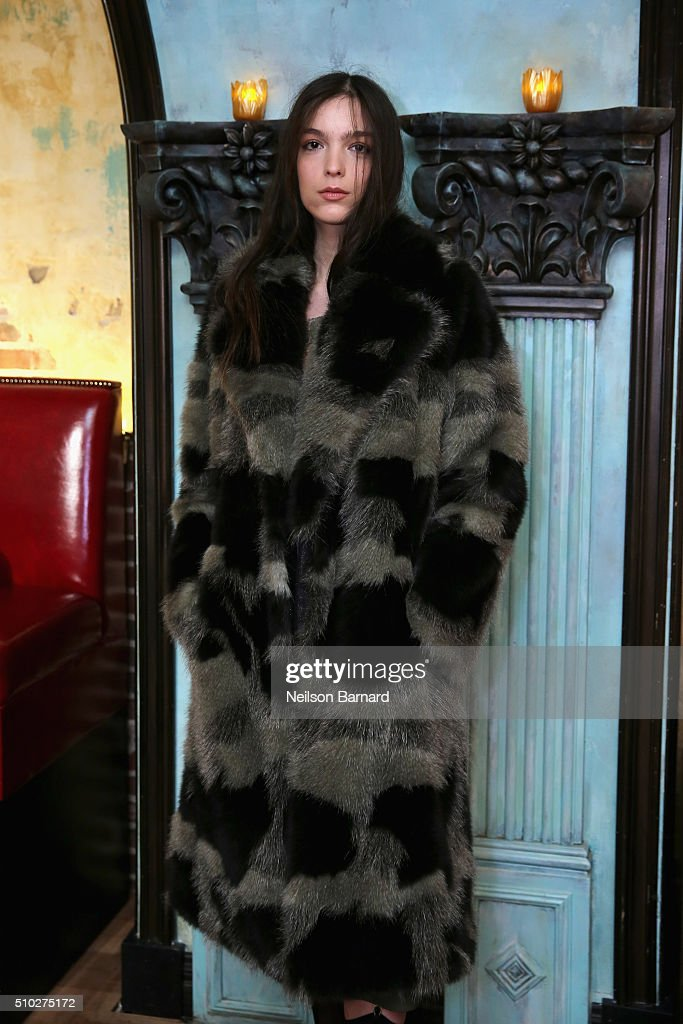A model poses at the Tracy Reese presentation at Roxy Hotel on February 14, 2016 in New York City.