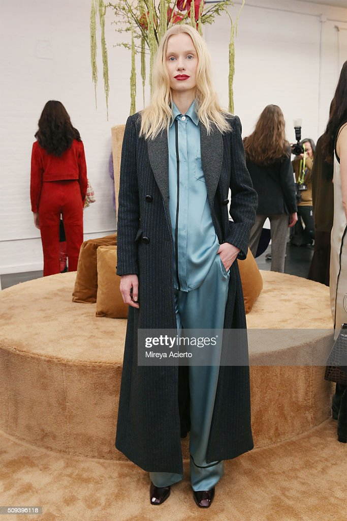 A model poses at the Veda Presentation during the Fall 2016 New York Fashion Week on February 10, 2016 in New York City.