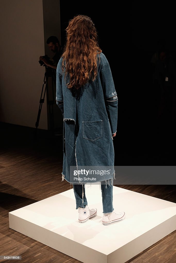 A model poses at the Vektor show during the Mercedes-Benz Fashion Week Berlin Spring/Summer 2017 at Stage at me Collectors Room on June 28, 2016 in Berlin, Germany.