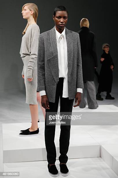 A model poses at the Whitetail show during the MercedesBenz Fashion Week Berlin Autumn/Winter 2015/16 at Brandenburg Gate on January 22 2015 in...