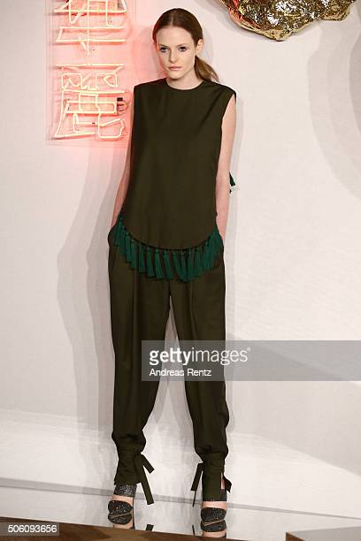 A model poses at the William Fan show as part of Der Berliner Mode Salon during the MercedesBenz Fashion Week Berlin Autumn/Winter 2016 at...